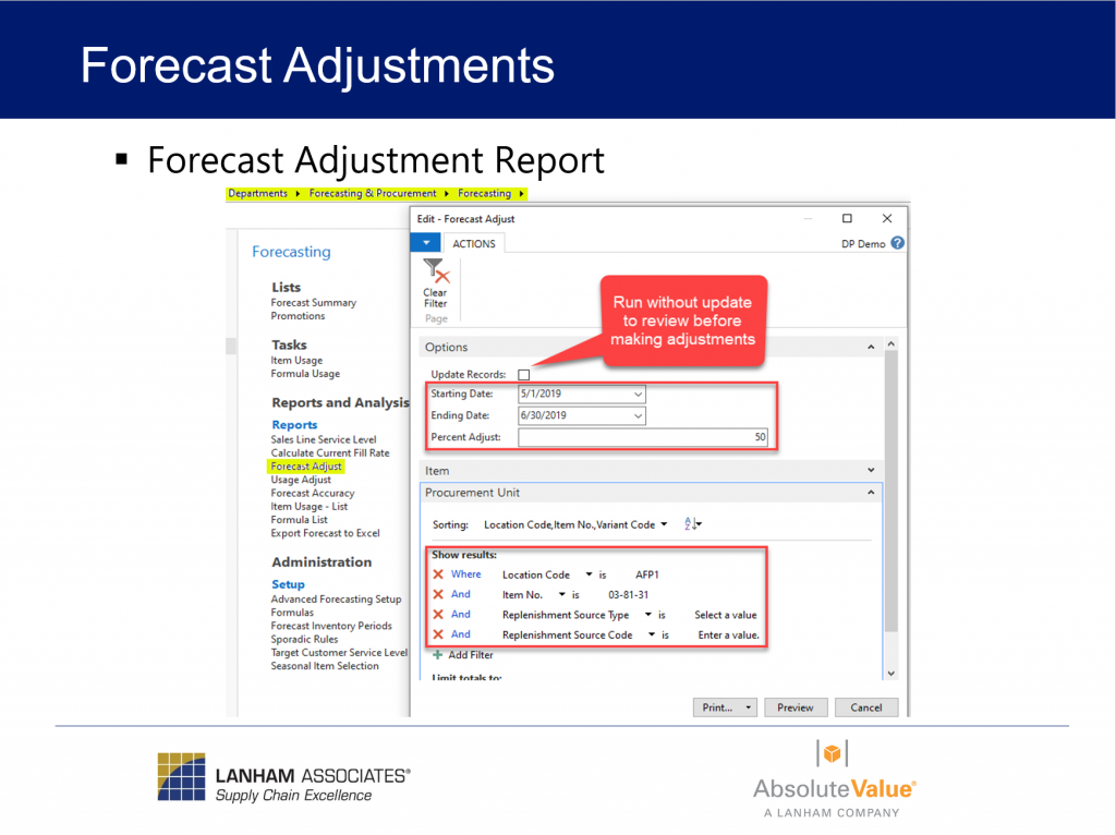 Forecast Adjustments Report