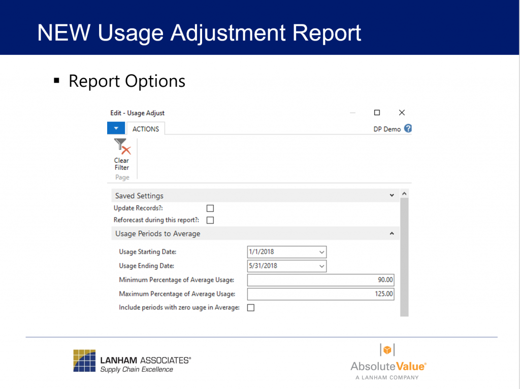 New Usage Adjustment Report