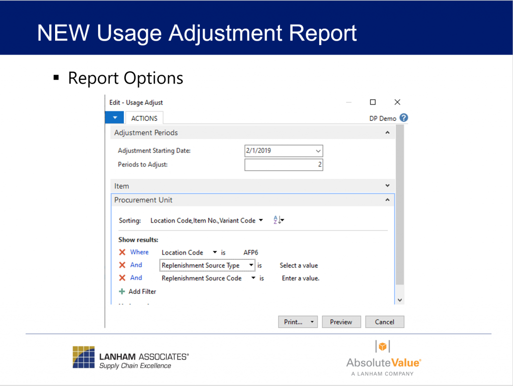 New Usage Adjustment Report Options